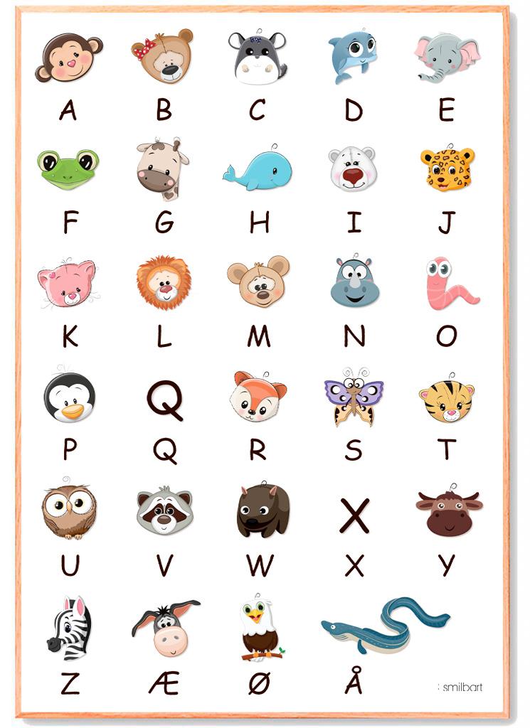 ABC Plakat Læring Børn
