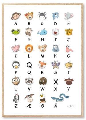 ABC Plakat: Alfabetdyr | Danmarks Favorit Alfabet Plakat med Dyr
