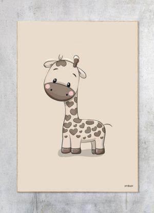 Børneplakat-Brun-Giraf