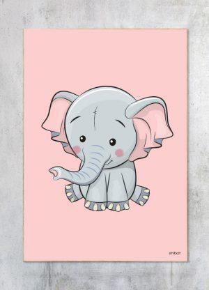 Børneplakat-Elefant Pige