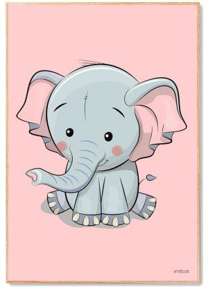 Elefant Plakat Lyserød