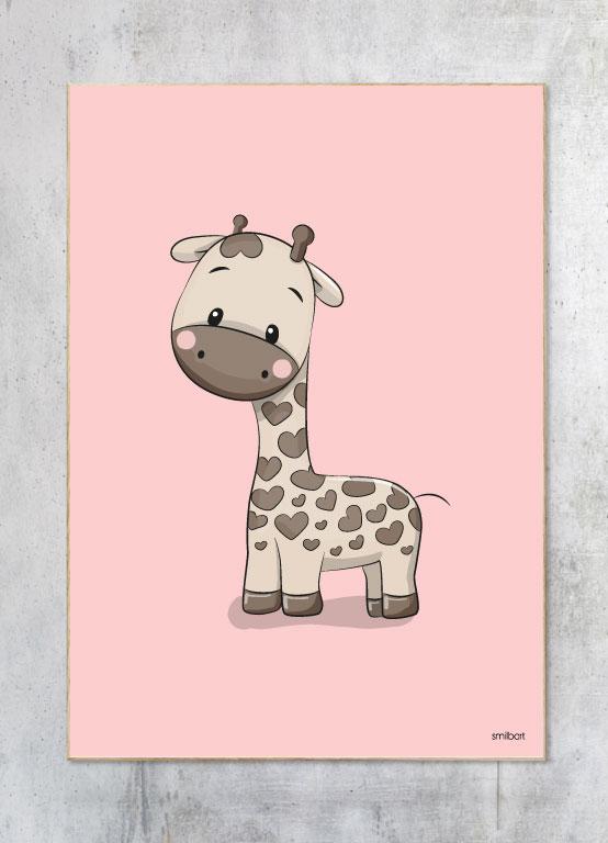 Børneplakat-Giraf-Pige
