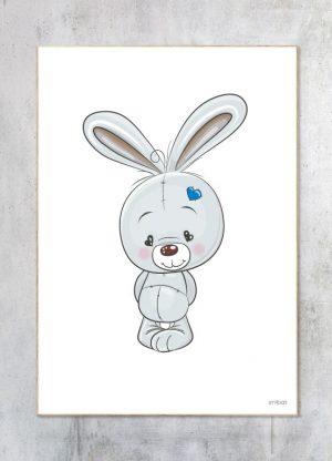 Børneplakat-Kanin Blå