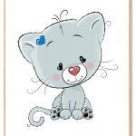 Kat Plakat Børn Blå
