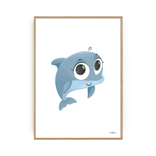 Delfin plakat til børneværelset