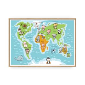 ABC plakat verdenskort plakat