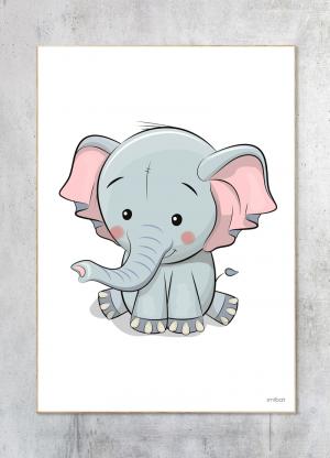 Børneplakater Elefant Baby