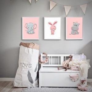 børneplakater kanin elefant flodhest pigeværelse