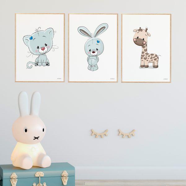Kanin Blå Børneplakat