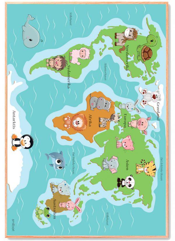 Verdenskort Plakat Børn Læring