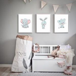 børneplakater drengeværelse kat kanin elefant