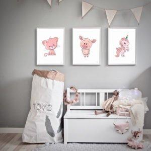 børneplakater enhjørning gris kat pigeværelse