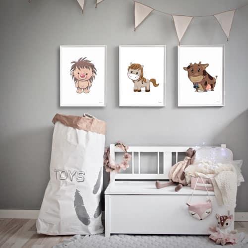 Børneplakat pindsvin pony ko pigeværelse drengeværelse