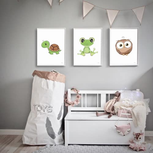 børneplakater skildpadde frø ugle plakater