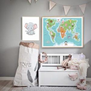verdenskort plakat børneplakater elefant
