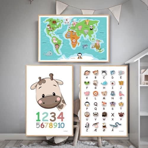 børneplakater læringsplakater alfabet tal verdenskort