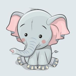 Wallsticker elefant børneværelse børn