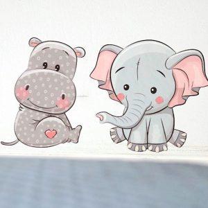 Wallstickers Flodhest Elefant Børn