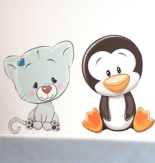 Wallstickers Kat Pingvin Børn
