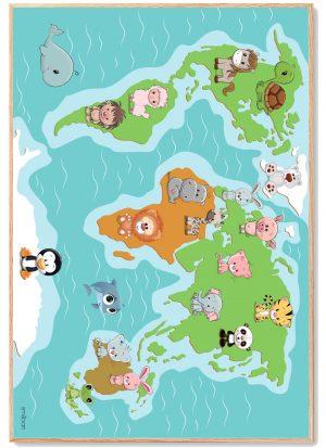 Verdenskort Plakat Børn