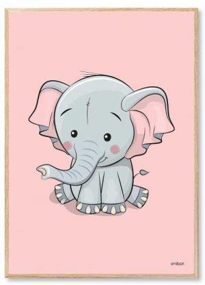 Elefant Børneplakater Pigeværelse