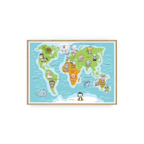 Børneplakater Verdenskort Plakat