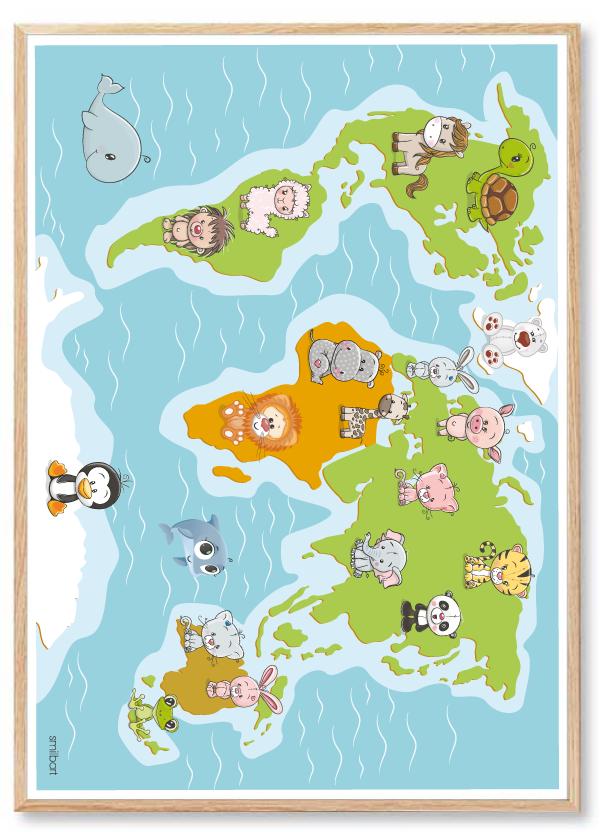 Verdenskort Plakat Til Børneværelset