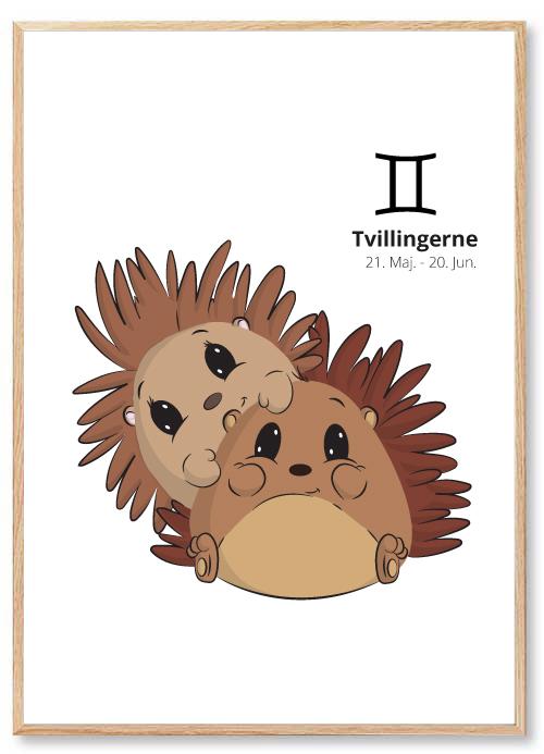 Stjernetegn Tvillingen Plakat Børneværelse