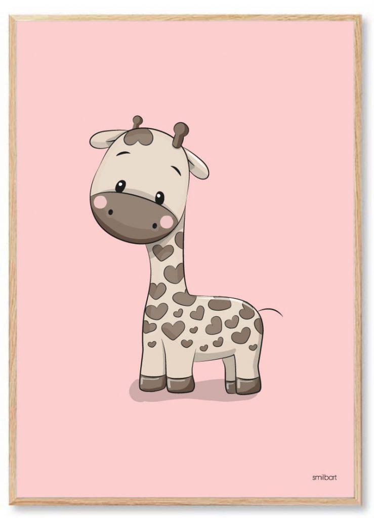 Børneplakater Giraf Pigeværelse Lyserød
