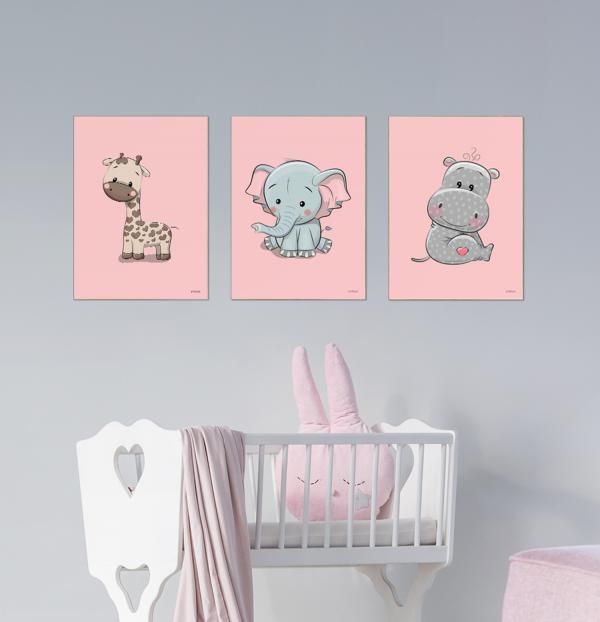 Giraf Elefant Flodhest Pigeværelse Børneplakater