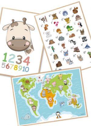 Læringsplakater Alfabet Tal Verdenskort Plakat Børn