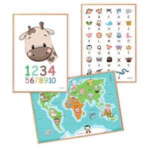 Tal Plakat Verdenskort ABC Læring Børn