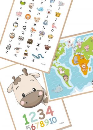 ABC tal verdenskort plakater