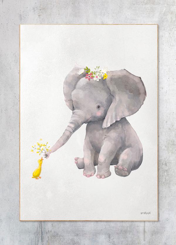 elefant plakat børneværelse
