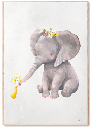 Elefant og Fugl Plakat