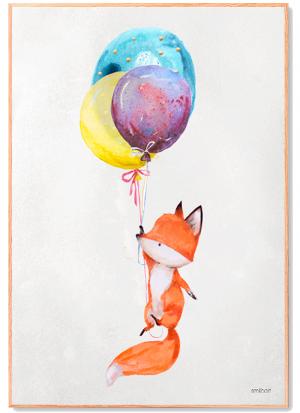 Flyvende Ræv med Ballon Plakat