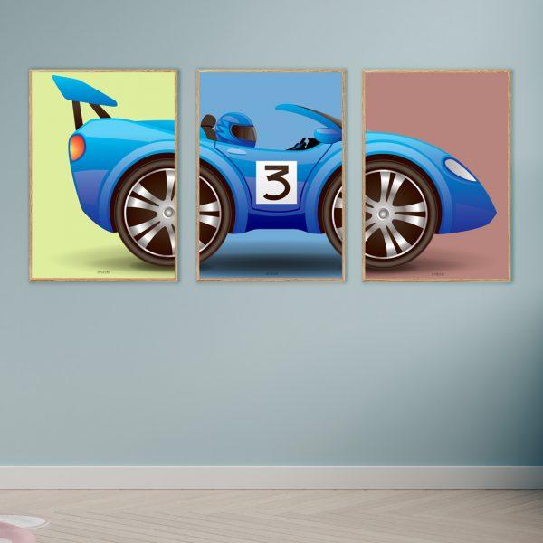 Racerbil Børn Billed Plakat
