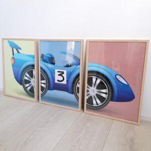 racerbil plakat børneværelse