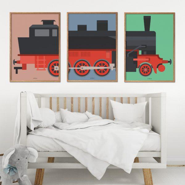 3 delt tog plakat børn
