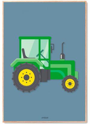 Traktor-grøn-med-blå-baggrund