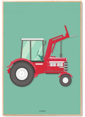 Traktor-rød-med-grøn-baggrund