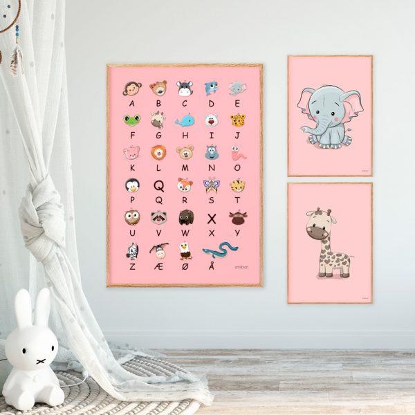ABC Plakat Elefant Giraf Lyserød Børn