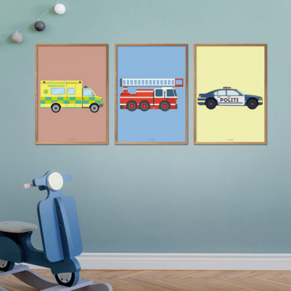 Ambulance-Brandbil-Politibil-Plakater-Børn-Køretøjer