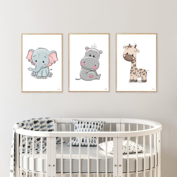 Elefant-Flodhest-Giraf