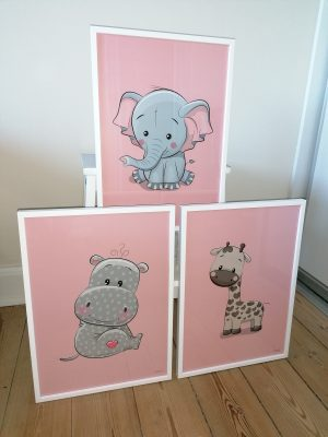 Flodhest Elefant Giraf Lyserød Plakater Børn