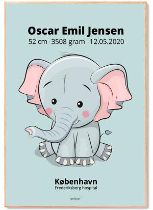 Fødselstavle-4-elefant-blå