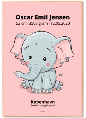 Fødselstavle-4-elefant-lyserød